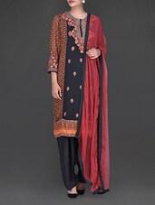 Embroidered And Printed Orange And Black Suit Set - Ritu Kumar