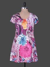 Round Neck Short Sleeves Floral Print Tunic - Rain And Rainbow