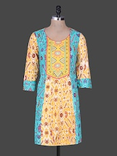 Yellow Printed Sleeve Cotton Kurta - Rain And Rainbow