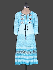 Blue Printed Cotton Kurta With Gathers - Rain And Rainbow