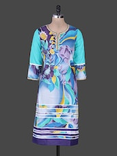 Blue Embroidered Floral Print Cotton Kurta - Rain And Rainbow