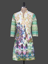 Multicolour Print Mandarin Collar Pin Tucked Cotton Kurta - Rain And Rainbow