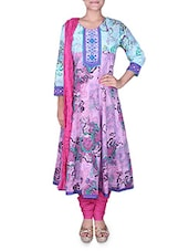 Mauve and pink printed cotton suit set -  online shopping for Suits