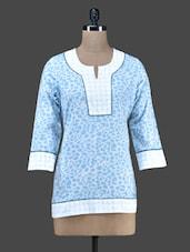 Blue Printed Cotton Funnel Neck Kurta - Vedanta