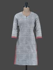 Grey Printed Chanderi Round Neck Kurta - Vedanta