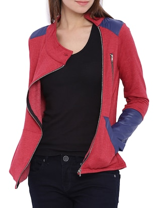 solid red cotton  jacket