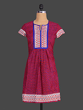 Chevron Print Short Sleeves Cotton Kurta - Indibelle