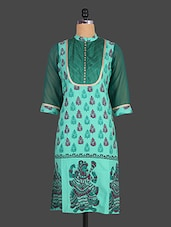 Mandarin Collar Ethnic Block Printed Cotton Kurta - Indibelle