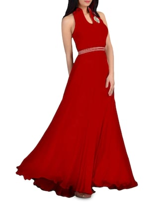 Red flared sleeveless evening gown
