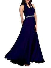 Dark blue flared sleeveless evening gown