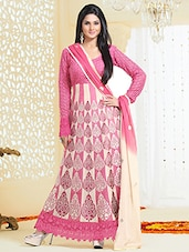Pink With White Color Embriodered Anarkali Salwar Suit - By