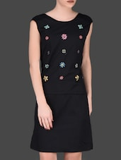 Beaded Floral Black Sleeveless Dress - LABEL Ritu Kumar