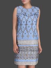 Printed Light Blue Sleeveless Dress - LABEL Ritu Kumar