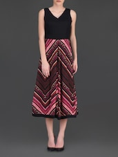 Printed Pink And Black Sleeveless Midi Dress - LABEL Ritu Kumar