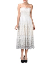 Cream Embroidered Strapless Dress - LABEL Ritu Kumar