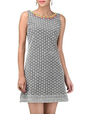 Monochrome Lace Sleeveless Dress - LABEL Ritu Kumar