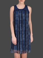 Printed Indigo Sleeveless Shift Dress - LABEL Ritu Kumar