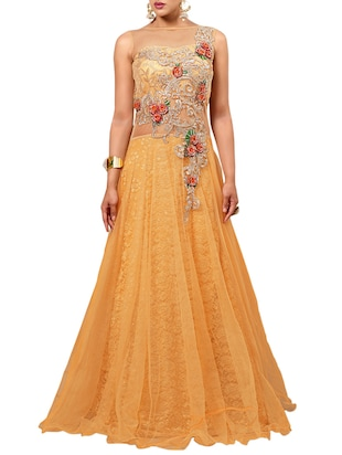 beige laced net embroidered unstitched ethnic gown