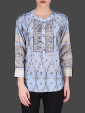 Metallic Printed Light Blue Full-Sleeve Top - LABEL Ritu Kumar
