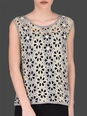 Grey Floral Cutwork Sleeveless Top - LABEL Ritu Kumar