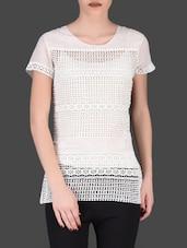 White Cotton Lace Top - LABEL Ritu Kumar