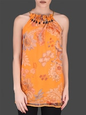 Orange Printed Halter-neck Top - LABEL Ritu Kumar