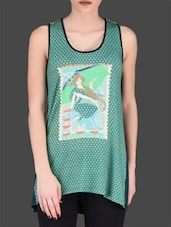 Green Printed Sleeveless Top - By