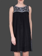 Black Nylon Sleeveless Dress - LABEL Ritu Kumar