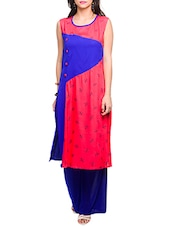 Orange And Blue  Rayon Printed Kurta - By
