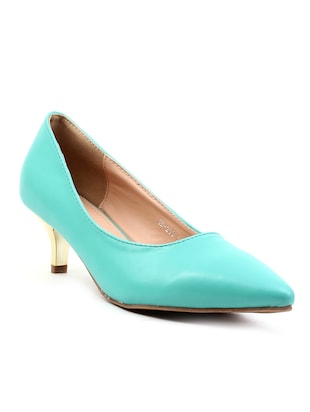 green leatherette slip on pumps