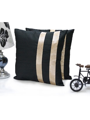 black striped dupion cushion cover (set of 5)