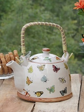 Butterfly Printed Ceramic Kettle With Cane Handle - PYALLI