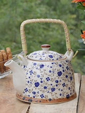 Floral Ceramic Kettle With Cane Handle - PYALLI - 1144953
