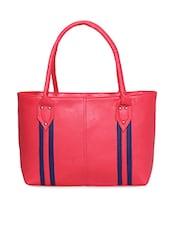 Blue Stripe Pink Leatherette Handbag - Not Bad