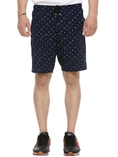 navy blue cotton printed short -  online shopping for Shorts