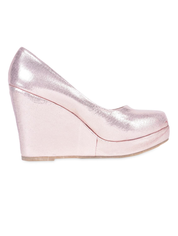 Round Toe Shimmery Leatherette Wedges - Flat N Heels