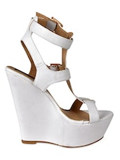 Strappy White Leatherette Wedge Sandals - Flat N Heels