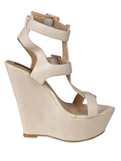 Strappy Beige Leatherette Wedge Sandals - Flat N Heels