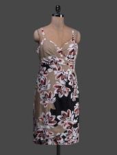 Floral Printed Beige And Black Summer Dress - TRENDY DIVVA