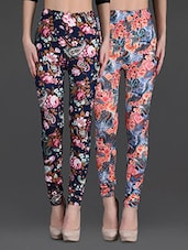 Combo Of Two Printed Polyester Leggings - Gopps