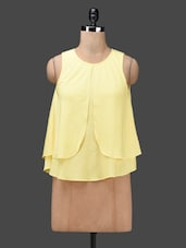 Yellow Layered Sleeveless Poly-crepe Top - Ama Bella