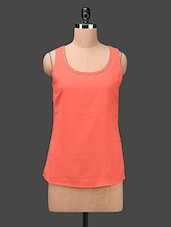 Orange Sleeveless Georgette Top - Ama Bella