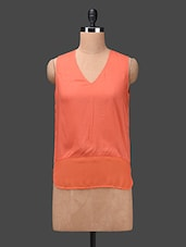 Orange V-neck Sleeveless Rayon Top - Ama Bella