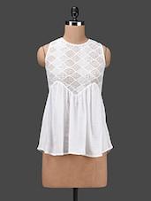 White Lace Yoke Sleeveless Rayon Top - By