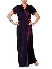 Navy Blue Satin Nighty & Wrap Gown -  online shopping for nightwear