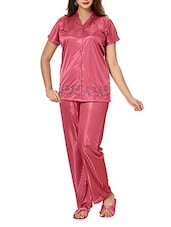Pink Satin Night suit set -  online shopping for nightwear