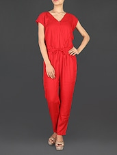Solid Red Rayon Jumpsuit - By