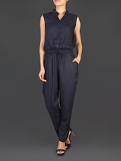 Solid Black Rayon Jumpsuit - By