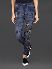 Blue Patch Work Cotton Blend Jeggings - LifenYou