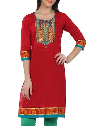 Embroidered Yoke Funnel Neck Red Kurta